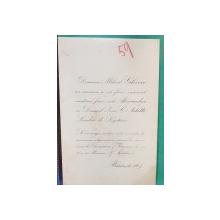 Alexandra Ghica si Ioan C. - Invitatie Casatorie, semnata de gravorul MUTZNER