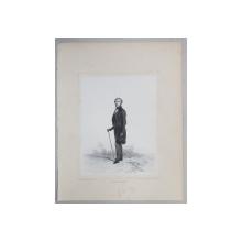 ALEXANDRE NORDMANN , GRAVURA PE METAL de AUGUSTE  RAFFET , MONOCROMA, DATATA 1848