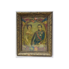 Alexandru Ioan Cuza si Doamna Elena - Cromolitografie, 1909
