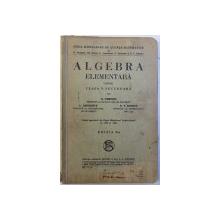 ALGEBRA ELEMENTARA PENTRU CLASA V SECUNDARA de D. POMPEIU ..D. V. IONESCU , 1935