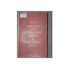 ALTE MENTIUNI DE ISTORIOGRAFIE  LITERARA SI FOLCLOR (II)  - PERPESSIUCIUS  1958-1962