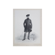 AMEDEE HUOT , LITOGRAFIE DUPA UN DESEN de AUGUSTE RAFFET , MONOCROMA, DATATA 1848
