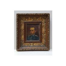ANONIM ,PORTRET DE OFITER , ULEI PE LEMN NESEMNAT cca 1900