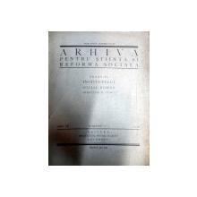 ARHIVA PENTRU STIINTA SI REFORMA SOCIALA   1930  ANUL  IX