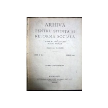 ARHIVA PENTRU STIINTA SI REFORMA SOCIALA - D. GUSTI    ANUL III APRILIE 1921