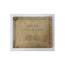 ATLAS GEOGRAFIC PENTRU UZUL SCOALELOR SECUNDARE de I. POPA - BURCA , 1924 , PREZINTA PETE SI URME DE UZURA * LIPSA ULTIMA HARTA
