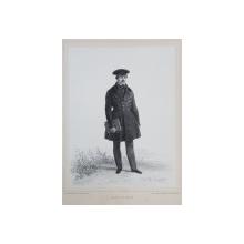 AUGUSTE DE SAINSON , LITOGRAFIE DUPA UN DESEN de AUGUSTE RAFFET , MONOCROMA, DATATA 1848