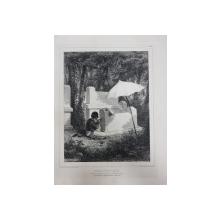 Auguste Raffet (1804-1860) -  Sculptor de morminte  din Valea Josaphat JUGUDA KAZAZ MISIZ ,litografie 1840