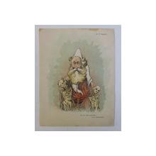 B. P. HASDEU , ' SEF DE BALET MACABRU ( VEZI SAINT - SAENS ) ' , CARICATURA , LITOGRAFIE de pictorul NICOLAE PETRESCU - GAINA 1871 - 1931 , 1898