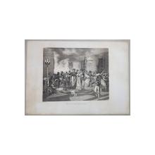 BAL CHEZ L 'AMBASSADEUR D 'AUTRICHE ( BAL LA AMBASADORUL AUSTRIEI ) , LITOGRAFIE de C. MOTTE , MONOCROMA, MIJLOCUL SEC. XIX