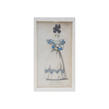 BALL DRESS , DOAMNA IN ROCHIE DE BAL CU MOTIVE ALBASTRE , GRAVURA COLORATA MANUAL , PENTRU JURNAL DE MODA , 1828