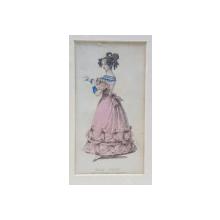 BALL DRESS , DOMANA IN ROCHIE DE BAL ROZ , CU MARGELE SI CERCEI ALBASTRII  , GRAVURA COLORATA PENTRU JURNAL DE MODA , 1828