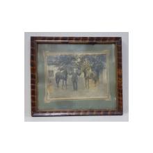 Barbat cu doi cai - Fotografie originala, 1924