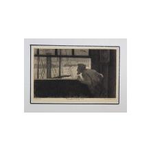 BARBAT LA FEREASTRA SPRE MARE , GRAVURA PE METAL de GERY -  BICHARD , CU PASPARTU , DATATA 1892