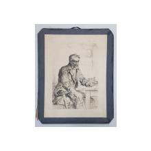 BARBAT LA MASA IN CARCIUMA , GRAVURA PE METAL de ALBERT ANKER , PICTOR SUEDEZ (1831 - 1910 ) ,  SFARSITUL SEC. XIX