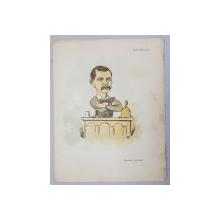 BASIL EPURESCU  - BIVOLARUL DON BASIL  ,  CARICATURA , LITOGRAFIE COLOR  de pictorul NICOLAE PETRESCU - GAINA ( 1871 - 1931 )  , 1898