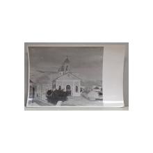 BISERICA ORASULUI , FOTOGRAFIE DUPA UN TABLOU AL PICTORULUI ALEXANDRU BASSARAB , MONOCROMA, PERIOADA INTERBELICA
