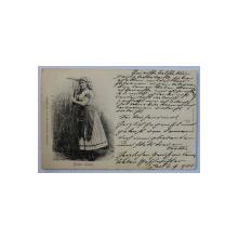 BLAHA LUJZA - ACTRITA SI CANTAREATA MAGHIARA , CARTE POSTALA ILUSTRATA , EMBOSATA ,  MONOCROMA , CIRCULATA , CLASICA , DATATA 1900
