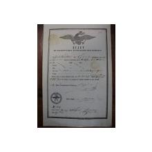 Braila, bilet export  cereale pentru negustorul Iacob Paniotidis, 1855