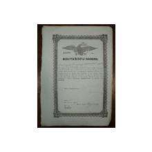 Brevet de negustor din breasla caramidarilor pe numele Mosk Arghir din Pitesti, 1854