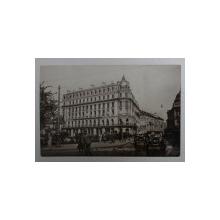 BUCURESTI , CALEA VICTORIEI , CU CLADIREA CARE ADAPOSTEA BANCA BELGIEI , FOTOGRAFIE TIP CARTE POSTALA , MONOCROMA, CIRCULATA , DATATA 1929
