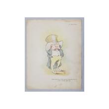 C. STANCESCU  - COSTICA DEL PARIS ,  CARICATURA , LITOGRAFIE COLOR  de pictorul NICOLAE PETRESCU - GAINA ( 1871 - 1931 )  , 1898