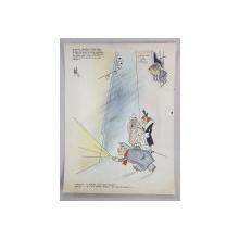 CAIRCATURA CU ZAMFIR POPAZU SI VIRGIL CAZACU , DE LA COMISIA LOCALA DE BOX , SEMNATA SI DATATA , 1951