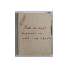 CAIET DE VANAT IMPUSCAT DIN ANUL 1927 INAINTE , APARTINAND LUI CONST. EMANDI , MANUSCRIS , 1939