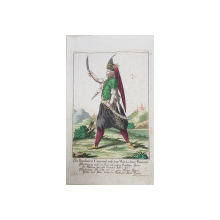 Caporal Pandur din Banatul Sarbesc - Gravura colorata