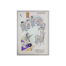 CARICATURA CU FOSTUL BOXEUR VIRGIL CAZACU LA SEDINTA COMISIEI LOCALE DE BOX , SEMNATA SI DATATA 1951