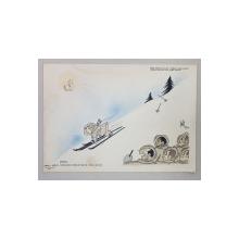CARICATURA  ' VIRGIL CAZACU LA SKY ' , SEMNATA INDESCIFRABIL SI DATATA  , 1950