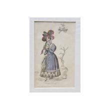 CARRIAGE DREFS , DOAMNA CU HAINA SI MANSON , PALARIE CU PANGLICI ROSII SI VERZI , GRAVURA PENTRU REVISTA DE MODA ' LADY'S MAGAZINE ' , 1828