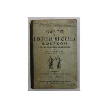CARTE DE LECTURA MUZICALA - SOLFEGII - PENTRU CLASA II -A SECUNDARA de A.L. IVELA , 1909 , COTOR LIPIT CU BANDA ADEZIVA *