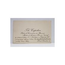 CARTE DE VIZITA, TH. CAPIDAN, PROFESOR LA UNIVERSITATEA DIN BUCURESTI. MEMBRU AL ACADEMIEI ROMANE CU DEDICATIE CATRE N. I. HERESCU