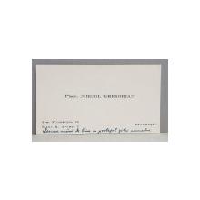 CARTEA DE VIZITA A PROF. MIHAIL GREGORIAN , TRIMISA PROF . N. CARTOJAN , CU FELICITARI DE ZIUA NUMELUI , DATATA 1944