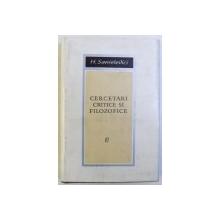 CERCETARI CRITICE SI FILOZOFICE de H. SANIELEVICI , 1968