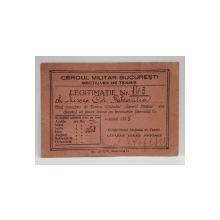CERCUL MILITAR BUCURESTI , SECTIUNEA DE TENIS , LEGITIMATIE DE MEMBRU , 1935