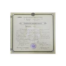 Certificat de absolvire a liceului Mihai Viteazul,București 1911