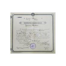 """Certificat de  absolvire a Liceului """"Unirea"""" din Focșani 1911"""