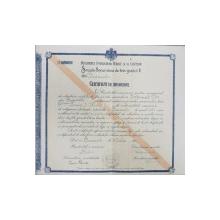 Certificat de absolvire a Scolii Secundare de de fete gradul II, București 1918
