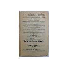 CODUL GENERAL AL ROMANIEI de C. HAMANGIU , VOLUMUL IV  - LEGI UZUALE , SUPLIMENT , 1908