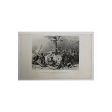 CONDUITE HEROIQUE DE MARECHAL NEY DANS LA RETRAITE DE RUSSSIE ( COMBAT PRES DE SMOLLENSK ) , GRAVURA  PE METAL , MONOCROMA, ILUSTRATIE DE CARTE , SECOLUL XIX