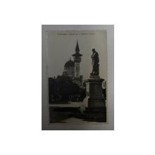 CONSTANTA - MOSCHEEA SI STATUIA LUI OVIDIU , FOTOGRAFIE TIP CARTE POSTALA , CIRCULATA , MONOCROMA, DATATA  1934