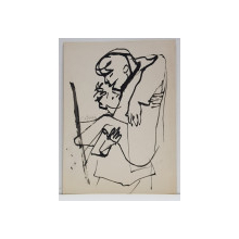 CONSTANTIN BACIU ( 1930 - 2005 ) , BARBAT CARAND UN ALT BARBAT  , DESEN
