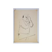 CONSTANTIN BACIU ( 1930 - 2005 ) , BARBAT CU MANA LA FATA   , DESEN