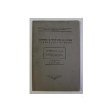 CONTRIBUTII PRIVITOARE LA ISTORIA LITERATURII ROMANE de SIMIONESCU DAN si D. MAZILU , 1928