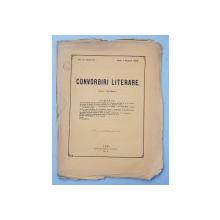 CONVORBIRI LITERARE , NO. 5  - ANUL VI , redactor JACOB NEGRUZZI , IASI , 1 AUGUST  , 1872 , COPERTA ORIGINALA DESPRINSA DE CONTINUT *