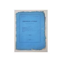 CONVORBIRI LITERARE , NO. 8  - ANUL VII , redactor JACOB NEGRUZZI , IASI , 1 NOEMBRIE , 1873 , COPERTA ORIGINALA DESPRINSA DE CONTINUT *
