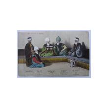 COSTUME  TRADITIONALE TURCESTI  DE LA CURTEA SULTANULUI , NR. 13 ,  CARTE POSTALA ILUSTRATA , CROMOLIOGRAFIE , POLICROMA , NECIRCULATA , INCEPUTUL SECOLULUI XX