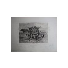 Caravana de tigani, Moldova, litografie originala semnata Auguste Raffet